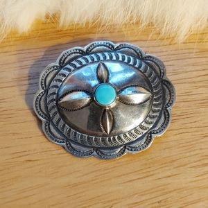 Native American concho turquoise brooch